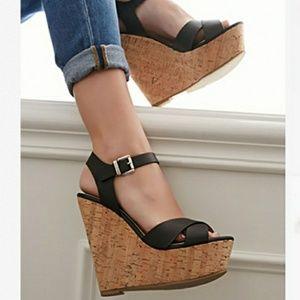 Forever 21 Black Ankle Strap Platform Sandal 8